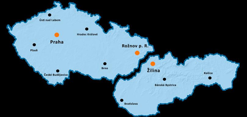 Mapa sídla a obchodních zastoupení společnosti Workswell s.r.o. v České a Slovenské republice